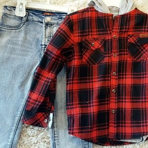 7 For All Mankind Boy Flannel Jeans & Tee Set 4T